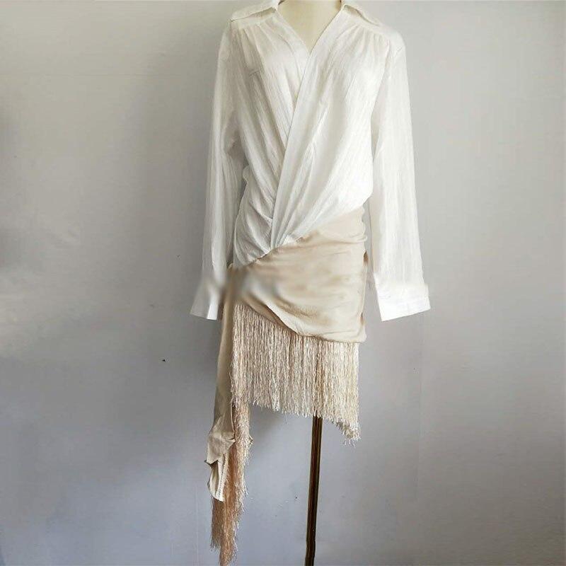 3305f6dc837a Runway Tassel Patchwork Dress Womens V Neck Long Sleeve Embroidery  Irregular Midi Shirt Dresses Summer Fashion Vintage Clothing