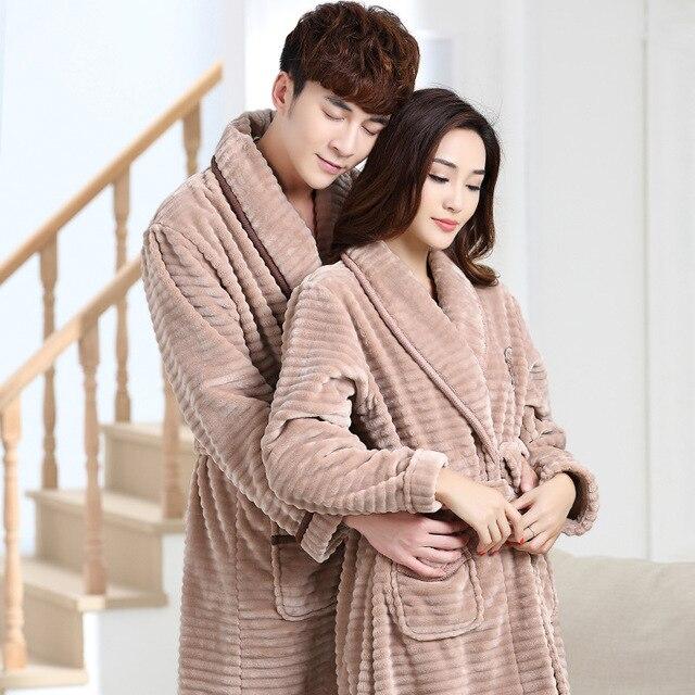 Us 48 78 100 Bulu Karang Pasangan Jubah Mandi Tebal Flanel Mandi Musim Dingin Musim Gugur Tebal Terry Wanita Gamis Katun Pria Cina Kimono Di Jubah