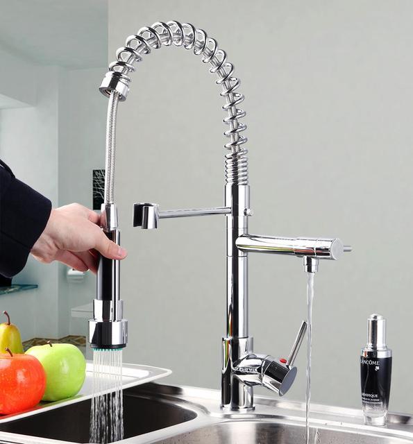 YANKSMART 8525 Best Quality Wholesale And Retail Water Power Chrome Kitchen  Faucet Vessel Removable Swivel Spout