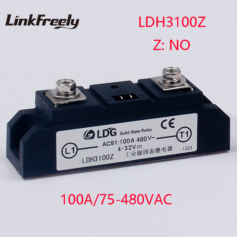 LDH3100Z 2pcs Industrial High Power 1 Phase Solid State Relay 100A Output 75-480VAC Input 4-32V DC AC SSR Voltage Relay Module wholesale genuine solid state relay ssr3 d48100hk 100a 24 480vac