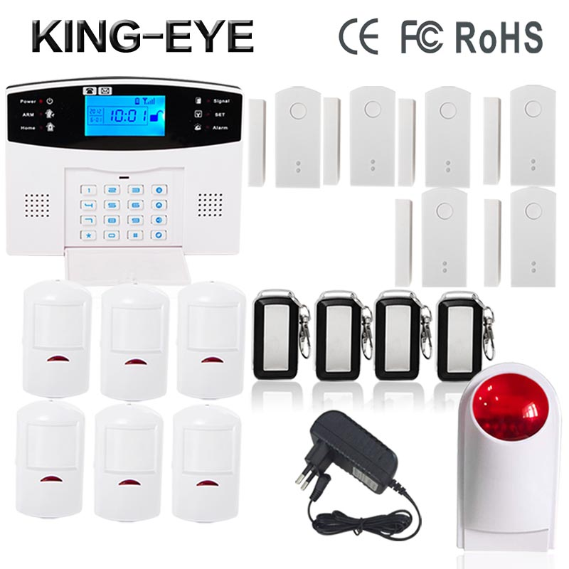 Home alarm system multiple voice Russian/Spanish/Polish wireless gsm alarm system security home with Door sensor Motion detector