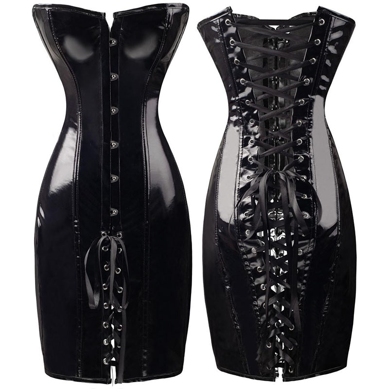 Sexy Wetlook Long Latex Corset Dress Gothic Women PVC Faux Leather Bustier Top Slimming Waist Body Shaper Black Red Plus Size
