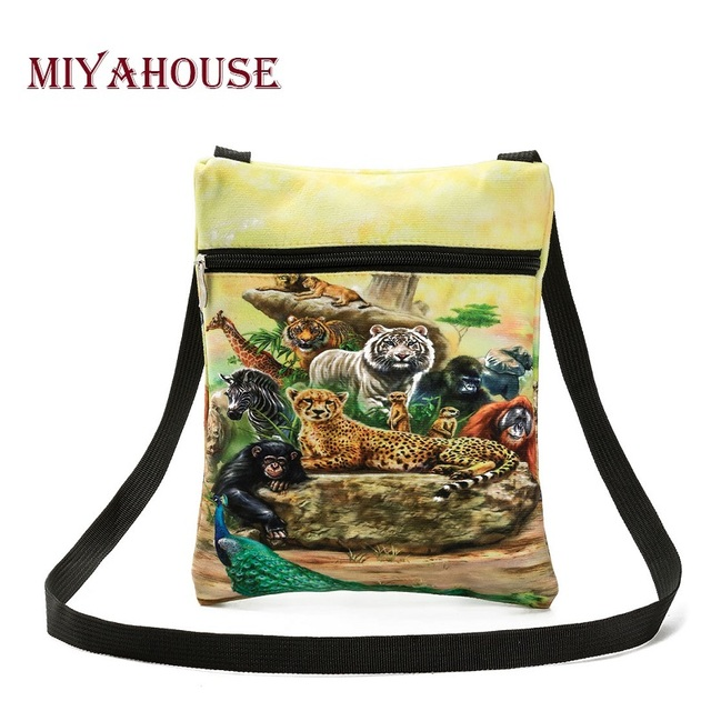 Colorful Animals Printed Messenger Bag For Girl Summer Ladies Mini Flap Shoulder Bag Casual Canvas Female Small Bag