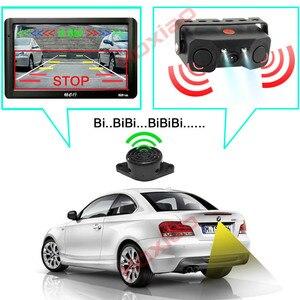 Image 2 - Araba dikiz kamera gece görüş LED ışık yüksek çözünürlüklü dikiz araç kamerası ekle geri Radar sensör dedektörü kamera