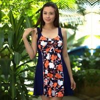 2017 Summer Women Floral New Hot Spring Swim Suit Dress One Piece Skirted Bathing Suits Plus