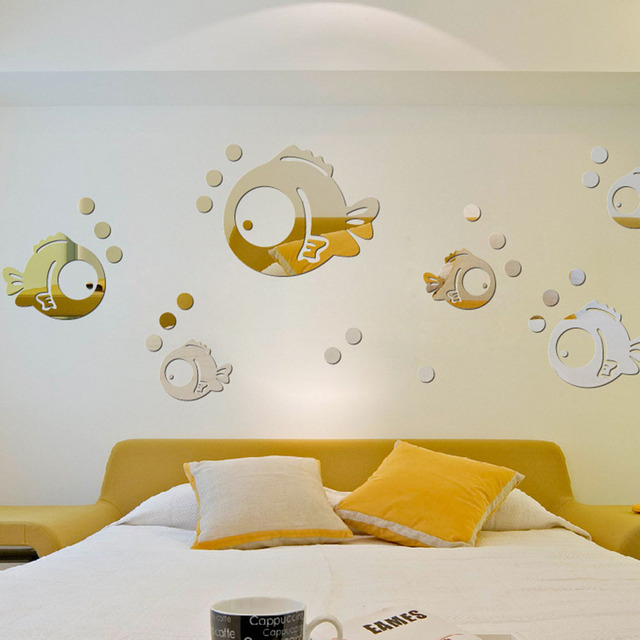 Wall Decals For Bathroom   Funny Wall Stickers Silver Gold Small Fish Bubble Wall Stickers