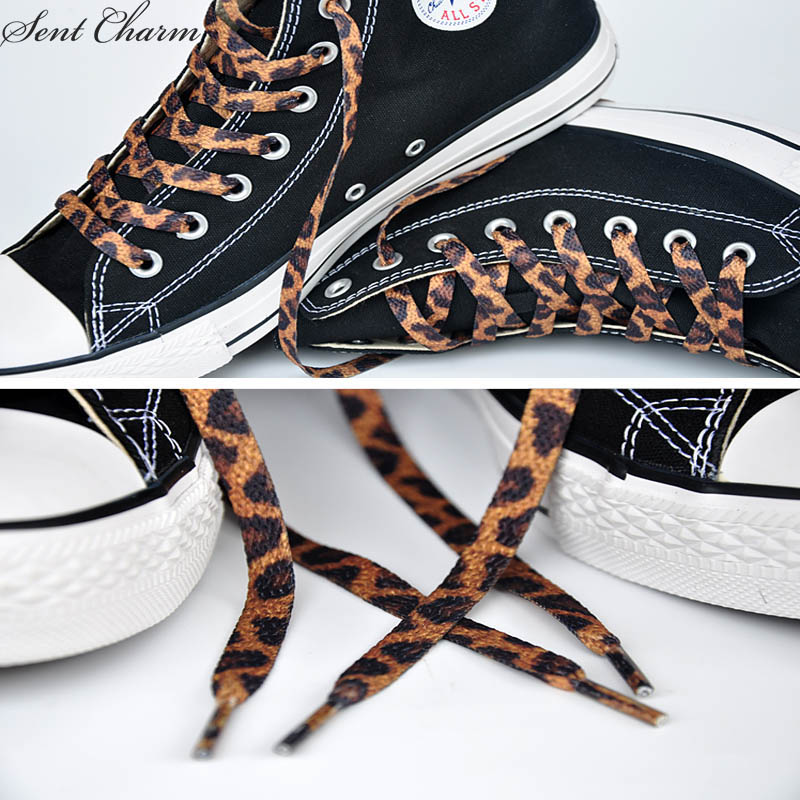 SENTCHARM 180cm/70.8inches Classical Leopard Print Shoestrings Fashionable Retro Flat Shoelaces For Casual Shoes fashionable tassels ornament leopard pattern flat shoes loafers black leopard pair size 35