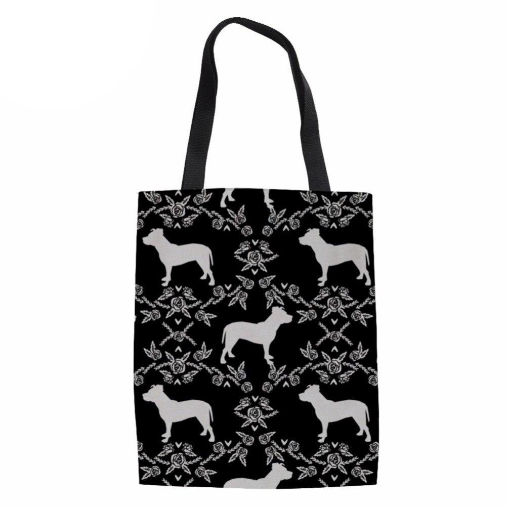 Noisydesigns сумка-шоппер Для женщин Сумки Экологичные Бакалея сумки Портативный сумки питбультерьер печати Shopper Сумки