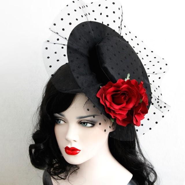 2016 Señoras de La Vendimia Rose Flor Fansinator Hat Hairclips Fiesta Elegante Dot Mesh Lace Sombrero Pelo de La Boda Accesorios Para la Mujer