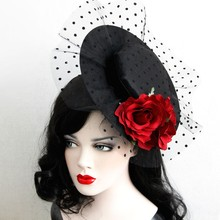 2016 Vintage Ladies Rose Flower Fansinator Hat Hairclips Elegant Party Dot Mesh Lace Hat Accessories Jewelry for Women LM030
