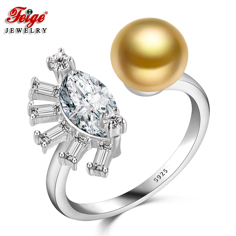 FEIGE Pearl Ring High Quality AAA Cubic Zirconia 925 Sterling Silver Rings for Women 8-9MM Golden Freshwater Pearl Lady GiftsFEIGE Pearl Ring High Quality AAA Cubic Zirconia 925 Sterling Silver Rings for Women 8-9MM Golden Freshwater Pearl Lady Gifts