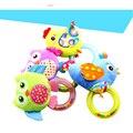 4 estilos búho pájaro pollo bebé sonajero campana de mano del juguete de la felpa animal bebé toys 0-12 meses recién nacido regalo