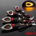 4x UNIVERSAL MOTORCYCLE BIKE RED LED AMBER TURN SIGNAL LIGHT INDICATORS BLINKER
