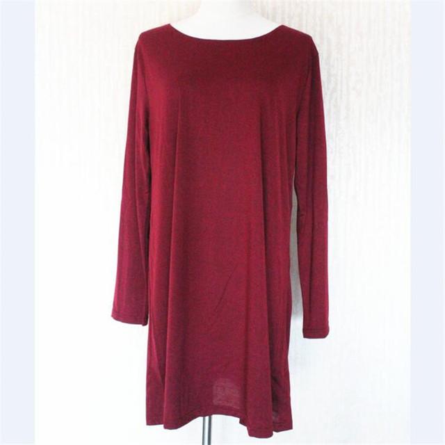 Falacs zozo 2016 New Arrival Autunm Winter Women Fashion Casual Vestidos Dresses Loose Solid O-Neck Knee-Length Dress
