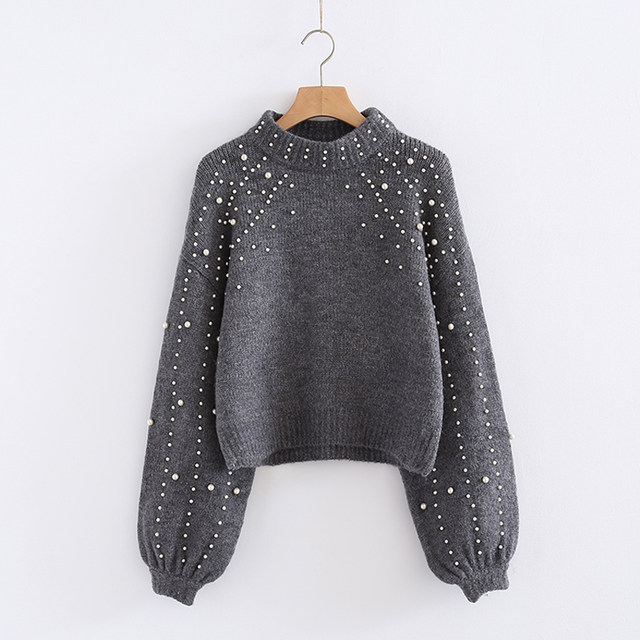 YNZZU Pearl Beaded Lantern Sleeve Loose Wool Sweater Jumper Vintage Gray  Short Warm Women Sweater and Pullover High Quality T119 117b5163d