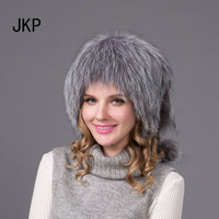 JKP 2018 Free Shipping women's fox silver fox fur hat hat for autumn winter warm women knitted fox fur hat HHY 12