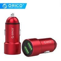 ORICO 12W Max aluminium ładowarka samochodowa mini USB podwójny porty USB do ładowania ładowarka samochodowa do iphone 8 plus Samsung s8 ładowarka do telefonu na USB