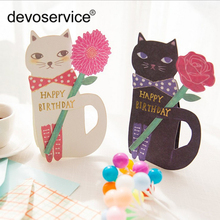 2pcs/lot Cute Cat Postcards Set Greeting Cards For Birthday Party Folded Greeting Card