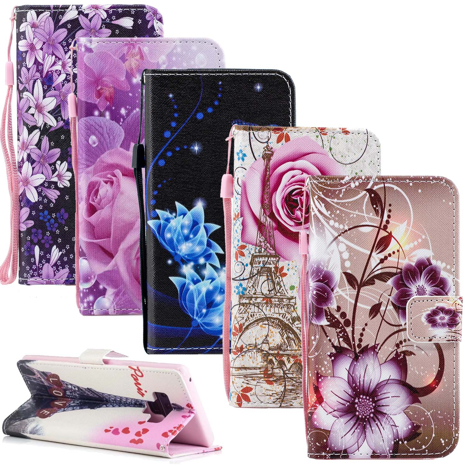 <font><b>M10</b></font> M20 M30 Flower <font><b>Leather</b></font> <font><b>Cases</b></font> For <font><b>Samsung</b></font> Galaxy S10 Plus S10e S9 S8 A7 A9 2018 A10 A30 A50 <font><b>Case</b></font> J4 J6 Plus Cover <font><b>Wallet</b></font> Bag image