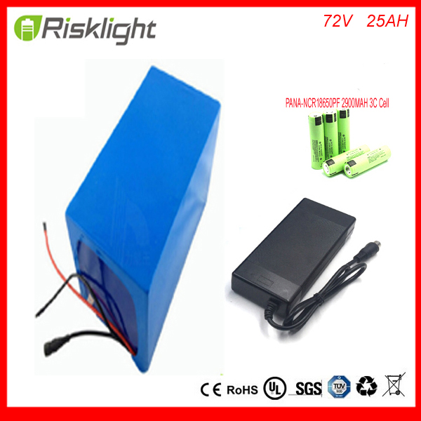bike battery 72v 25ah lithium battery pack 72v 3000w Lithium Ion Battery FOR Electric Bike with charger ,BMS For Panasonic cell lithium ion ebike battery pack 60v 15ah 1000w 1500w frog stype battery with charger and bms for e bike for samsung cell