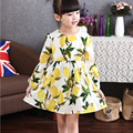Estilo de otoño vestidos de las muchachas niños vestidos para niñas vestido de princesa vestido de lemon Ropa de los cabritos Muchachas 3 4 5 6 7 8 9 10 Año Olds