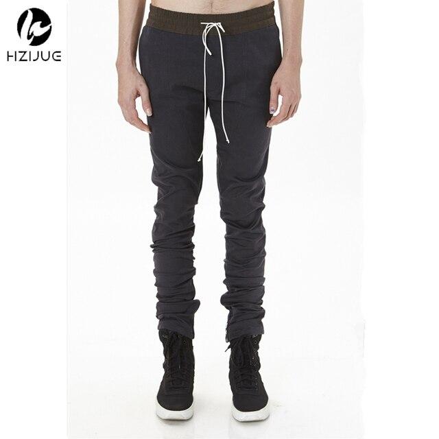 Khaki/negro de corea del hip hop de moda recta pantalones flacos cremalleras laterales para hombre corredores hombres pantalones de ropa urbana