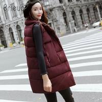 Brieuces 2018 Long Vest Winter Coat Women Sleeveless Jacket Slim Female Quilted Coat Femme Korean Waistcoat Colete Cotton Padded