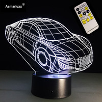 Car LED Night Light 3D LED Lamp 7 Colors Changing Remote Touch Switch Decorative Car Table