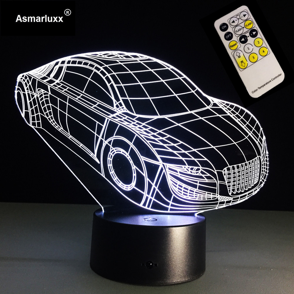 Car LED Night Light 3D LED Lamp 7 Colors Changing Remote Touch Switch Decorative Car Table Lamp Living Room Lights Kids Gift Toy