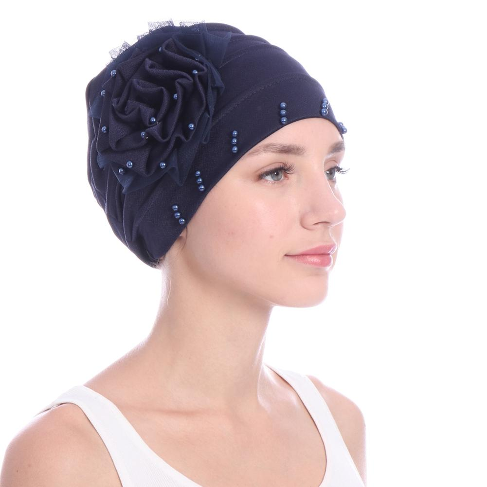 New Women's Fashionable Headscarf Pearl Elegant Turban Cap Cancer Patient Chemotherapy Cap Beanie Cap Decorative Headdress