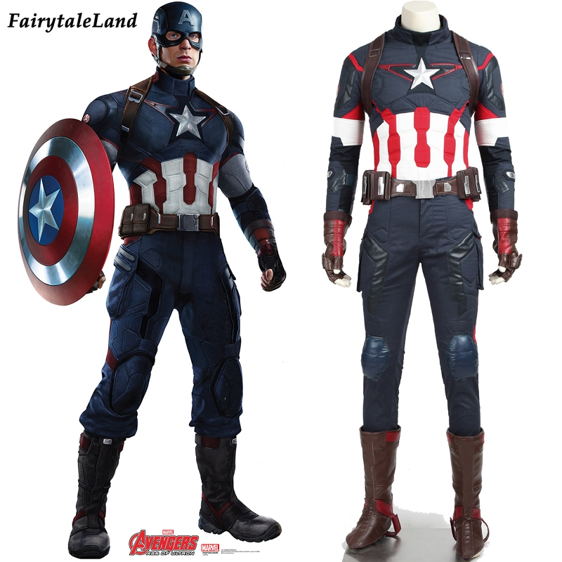 New Marvel The Avengers Age of Ultron Capitan America del Costume Cosplay Steve Rogers Outfits Adulto Superhero Halloween Costume uomo