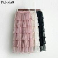 PADEGAO pink six layers tutu skirt patchwork spring summer women ball gown bohemian black casual party beach long maxi skirts