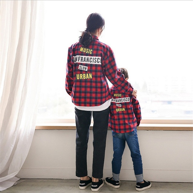 Spring Family Matching Clothes Mother And Daughter Clothes Mother Son Outfits Cotton Printed Letter Plaid Shirt Checked Shirt