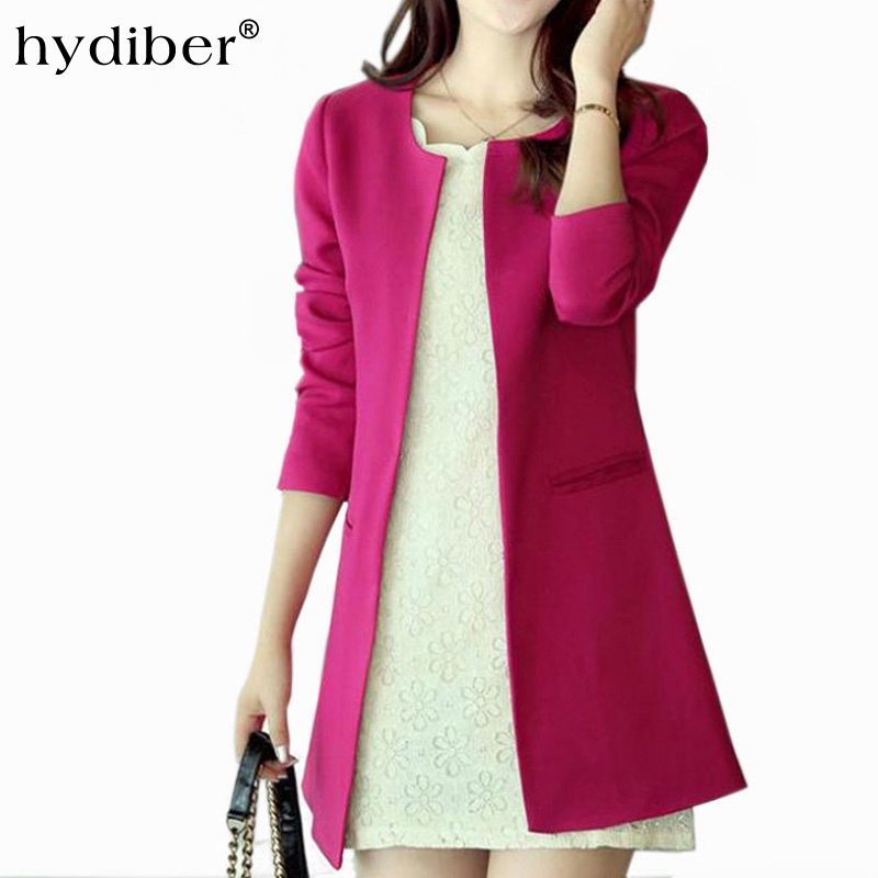 Women Long Blazer Jackets 4 Colors New Fashion Solid Casual Clothes Plus Size Coat Blazer Feminino Office Lady Jacket