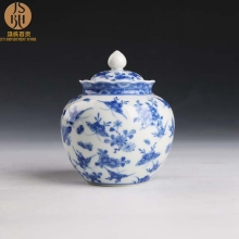 ZGJGZ jingdezhen porcelain blue and white hand-painted sealed storage pot 100 butterfly tea