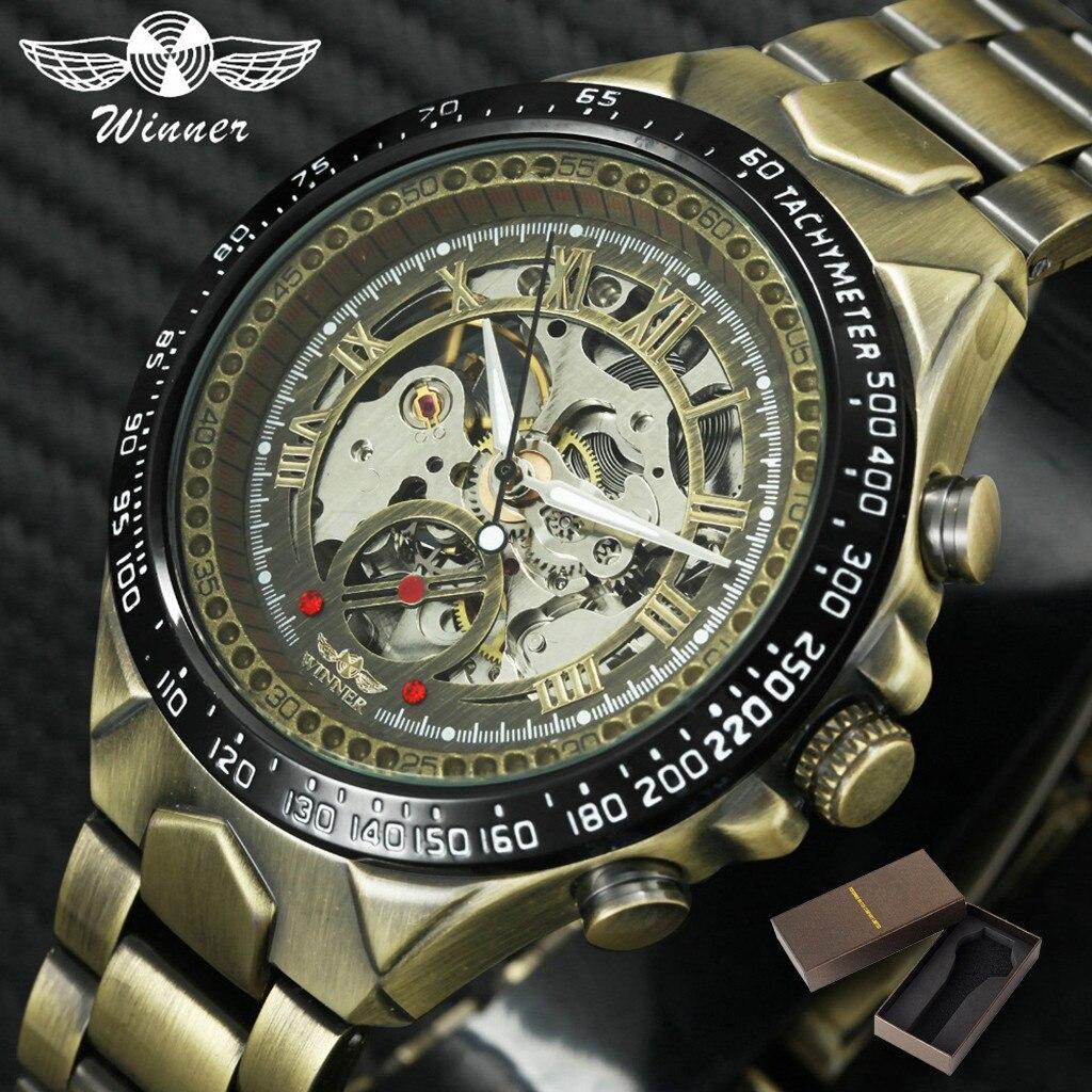 watch men luxury Luxury Monochrome Metal Strap Hollow Vintage Fashion Men's Mechanical Watch man watch 2019 square watch