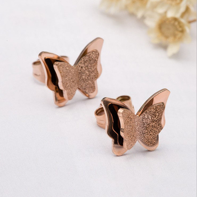 Fashion matte butterfly cute charm Hypoallergenic earrings rose gold