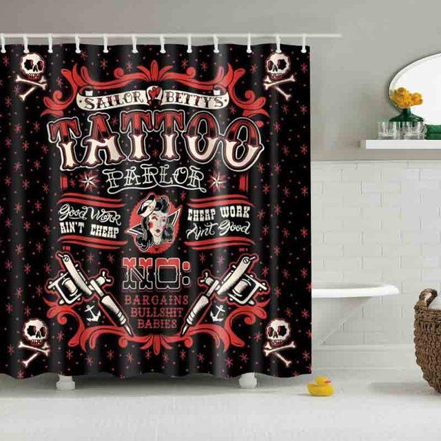 Tattoo Skull Sailor Pattern Shower Curtains Custom Design Creative Curtain Bathroom Waterproof Polyester Fabric
