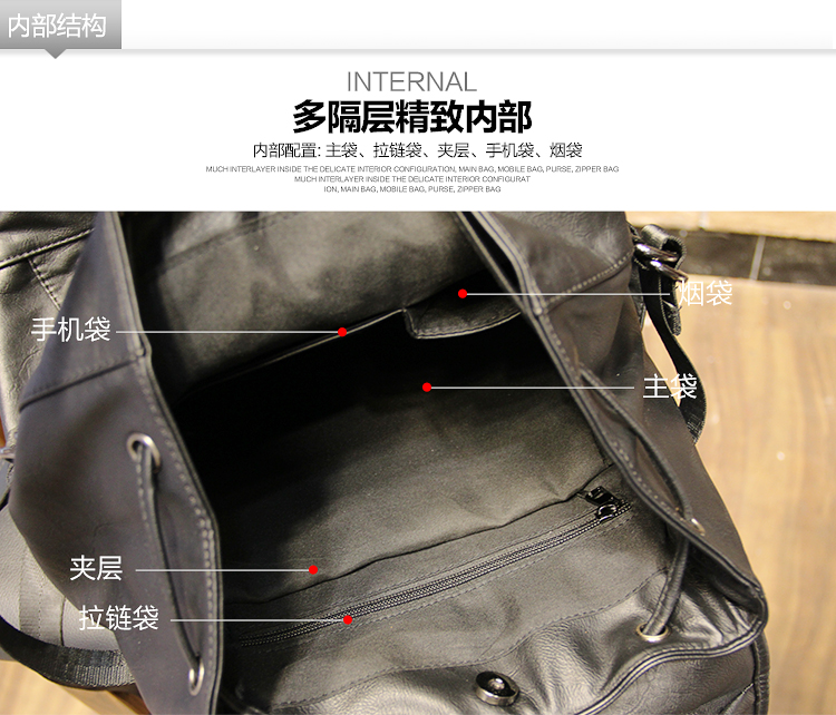 051018 new hot man fashion leather travel backpack student school bag 18