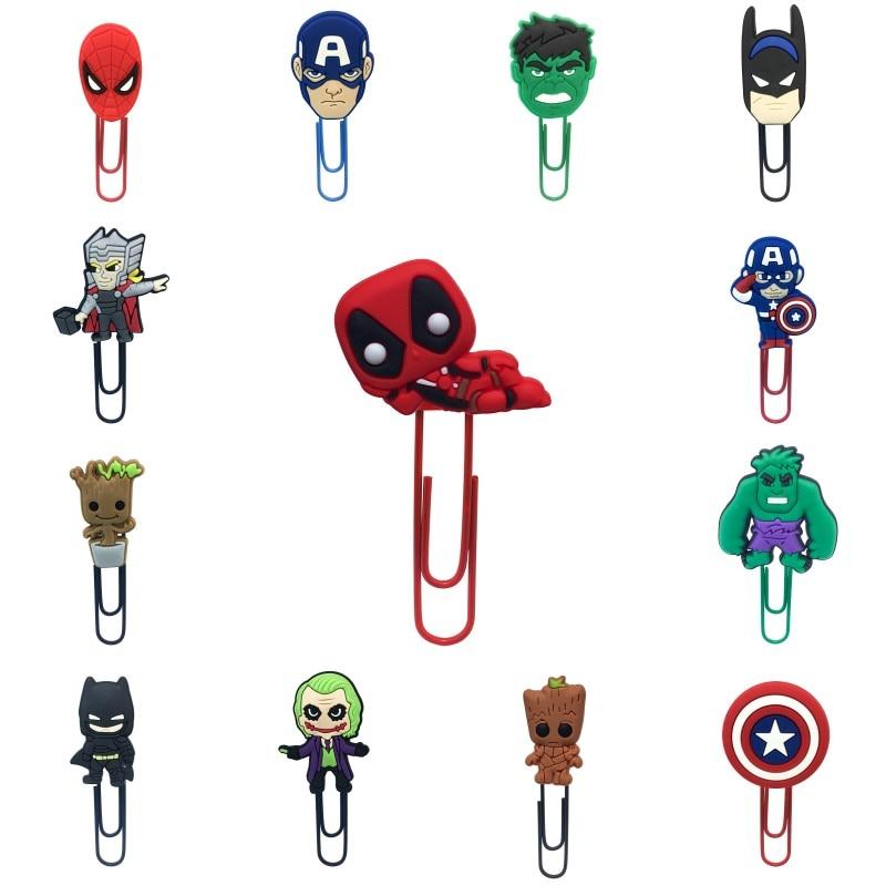 1pcs Cartoon Bookmarks Avenger Deadpool Groot Joker Paper Clips Spierman Page Holder School Office Stationery Kids Birthday Gift