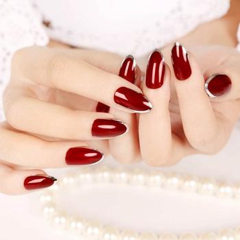 Beauty Ladies sztuczne paznokcie z klejem 24 sztuk zestaw Shine Solid Color sztuczne sztuczne tipsy full cover Stiletto krótkie sztuczne paznokcie tanie i dobre opinie YADORNOS Palec short 1set 35207 Akrylowe 1 80*0 00*0 00cm Pełne końcówki paznokci