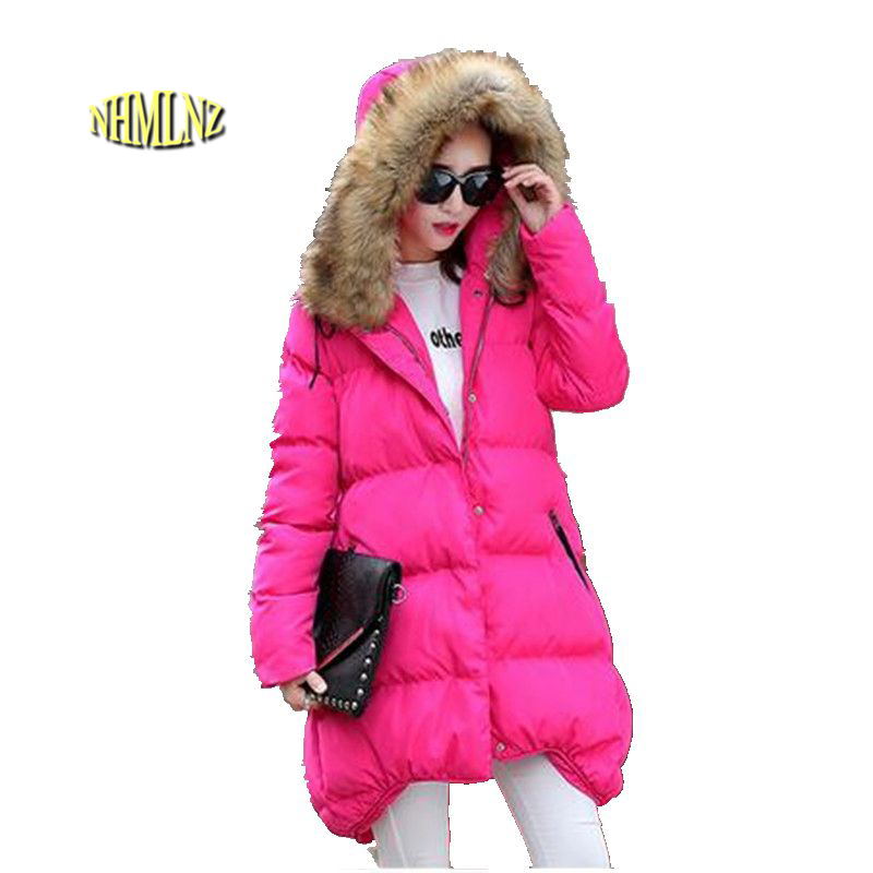 New 2016 Winter Jackets Women Jackets Real Big Raccoon fur collar Thick Ladies Down Parkas Large size Loose Cotton Coat G2828