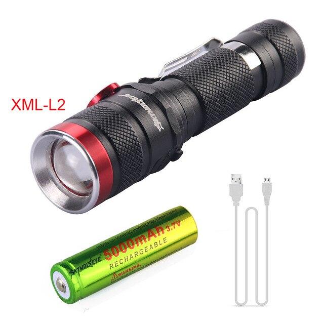 Linterna XML-L2 L2 con zoom USB recargable 3500LM linterna impermeable linterna táctica Flash + batería 18650 + cable usb