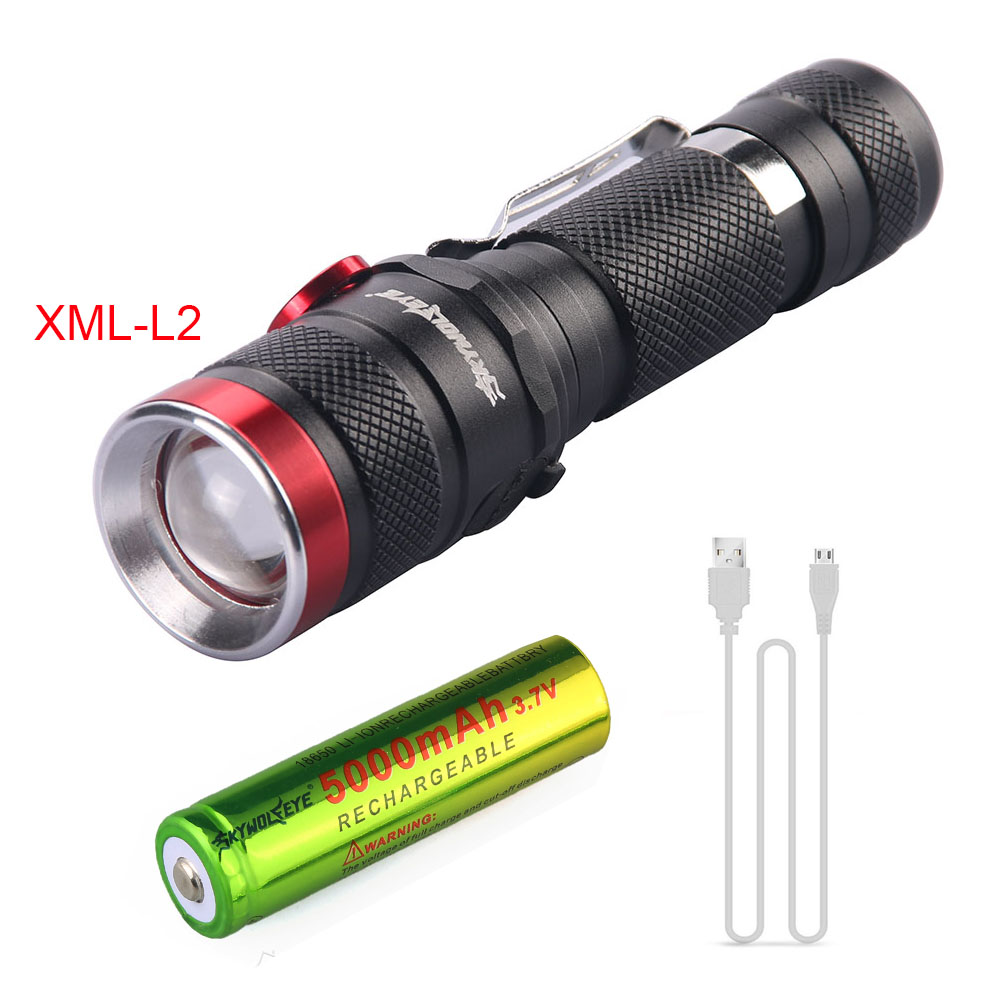 XML-L2 L2 Flashlight USB Rechargeable Zoomable 3500LM Torch Waterproof lanterna tactical Flash Light +18650 Battery+usb cable rechargeable led flashlight cree xml l2 tactical torch portable 5 mode zoomable lamp waterproof lanterna 18650 battery charger