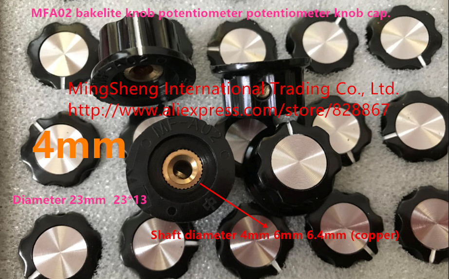 Original New 100% A02 Bakelite Potentiometer Knob Cap Potentiometer Knob Shaft Hole 4mm 6mm 6.4mm (copper)