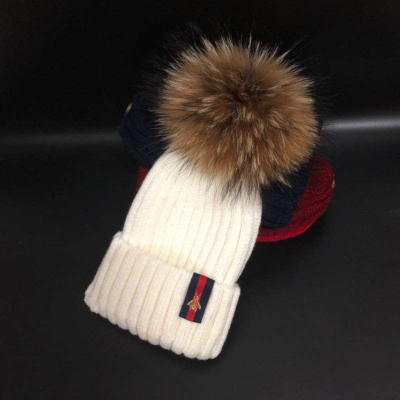 2019 New style Fashion Winter spring hats For Children Hat   Skullies     Beanies   15cm pompom fur Hat For Girls Cap bonnet enfant