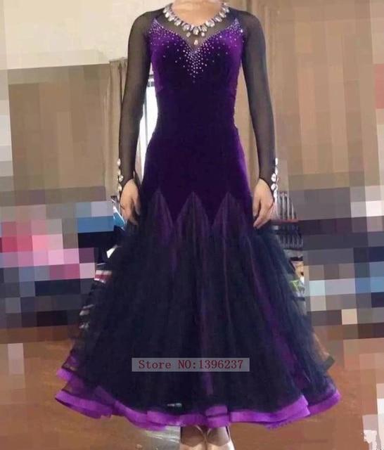 cb74ace902 Women Ballroom Dance Dresses Lady Newest Exquisite Purple Waltz Modren  Dancing Wear Adult Standard Ballroom Dress