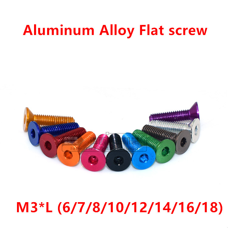 20pcs M3 Flat head Aluminum Screw DIN7991 aluminum Hexagon Socket Flat Head Screw M3*6/8/10/12/14/16/18 anodized mix colors