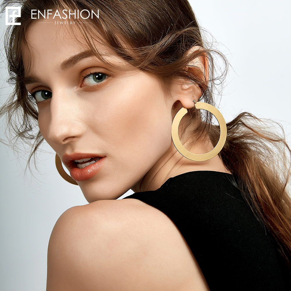 Enfashion Vintage veliki naušnica naušnice mat zlatne boje - Modni nakit - Foto 2