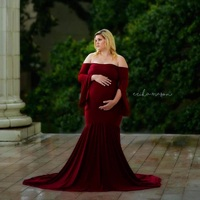 Maternity Dress Photo Shoot Maternity Gown Ruffle Sleeve Maternity Mercerized Cotton Gown Elegant Maternity Photography Props